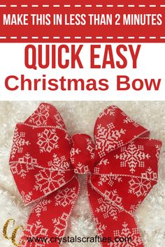 Quick Easy Christmas Bow This Easy Christmas Bow only takes about 2 minutes to make and is super duper simple. All you need is wire edged ribbon and a zip tie (or twist tie if you Diy Ribbon, Ribbon Crafts, Ribbon Bows, Ribbon Flower, Ribbon Hair, Hair Bows, Fabric Flowers, Tying Bows With Ribbon, Ribbons