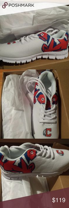 Cleveland Indians Woman's Shoes Cleveland Indians with Chief Wahoo!  lite weight tennis/sneakers from Citizen Hobby never worn/   Cleveland Baseball Ladies Sneakers - White / US7 (EU38)  have a pair in blue and they are SUPER comfy!  brand new, never worn in box. no tags unknown Shoes Sneakers