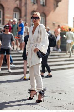 Celine Aagaard wearing a kimono and pants from Veronica B. Vallenes, shoes from Jimmy Choo (Lilyth), sunglasses from Céline and a bag from Gucci #StreetStyle