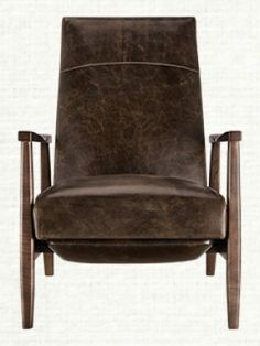 Wordsmith Leather Recliner | With its adventurous tonal blend of leather and wood, and Mid-Century Modern silhouette, the Wordsmith leather recliner is ideal for long hours of writing, reading or just relaxing.