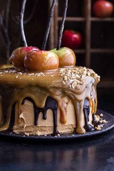 This salted caramel apple Snickers cake that should probably be illegal: