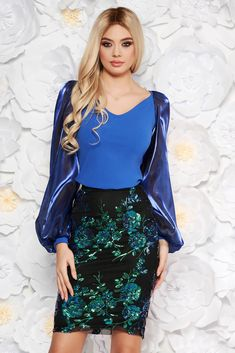 "StarShinerS blue occasional women`s blouse with tented cut with v-neckline transparent sleeves, tented cut, ""V"" cleavage, long sleeves, transparent sleeves, slightly elastic fabric"