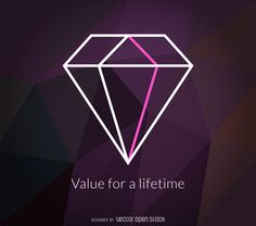 Polygonal diamond logo label