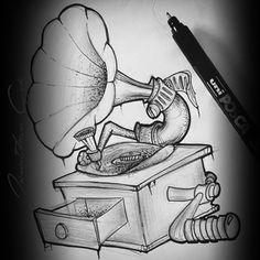 Le Phonographe #phinigraphe #music #dotwork #lining #dot #newschool #tattoo #tatouages #dessiner #drawing #machineàson