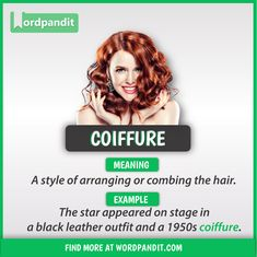 Meaning of Coiffure explained through a picture. Coiffure means 'A style of arranging or combing the hair' Advanced English Vocabulary, Learn English Grammar, Learn English Words, English Phrases, English Language Learning, English Writing, English Lessons, Interesting English Words, Beautiful Words In English