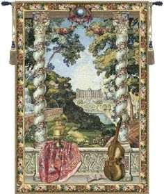 Woven in Belgium History: Chateau D, also known as Enghien, is a jacquard wall tapestry made in Belium. Its design comes from the series Les Maison Royales, thi