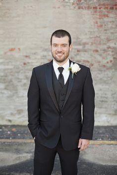 Three-Piece Black Wedding Suit   JACKSON SIGNATURE PHOTOGRPAHY   WATERWORKS   THE BLUE ORCHID   M'KAYSHAS BRIDAL LANE   http://knot.ly/6493B0kyJ