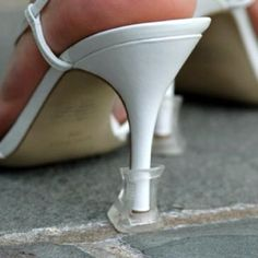 For outside wedding so you don't sink.  Necessity unless you wear wedges maybe. still it's a practical and neat idea!! -P. i'm wearing them for sam and sarah's wedding (and on other occasions later)