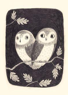 Owl illustration - Chuck Groenink // so sweet Couple Illustration, Illustrations, Children's Book Illustration, Owl Art, Art Images, Character Design, Poster, Sketches, Artwork