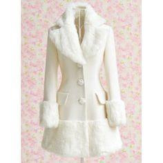 White Fur Collar Winter Coat 2017 Dabuwawa New Fashion Slim Women Wool Coat Rose Button Casaco Feminino High Quality S-xl White Faux Fur Coat, White Trench Coat, Trench Coats, Look Fashion, Fashion Outfits, Womens Fashion, Cheap Fashion, White Fashion, Ladies Fashion