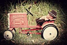 newborn boy tractor