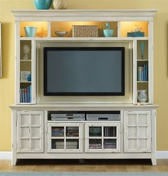 Liberty Furniture - New Generation Entertainment Center in Vintage White Finish