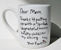 Thanks for putting up with a spoiled...Funny Mother's Day Mug, Humorous Gift for Mom from Meanmuggin39cups on Etsy. Saved to Gifts. #mothersday #coolestdaughterever #lol #cute #follow #meanandhilarious #needthis #funny.