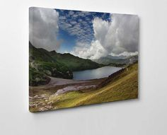 Scottish Highland's Lake - This breath taking photographic canvas art print of the Scottish Highlands is so full of colour on a summers day. The photographer has really captured the sense of space and distance of the lake and surrounding mountains - #canvas #art