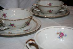 6 x beautiful soup bowl with saucer   Polish / czech   hetderdeserviesrotterdam
