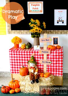 Pumpkin patch theme dramatic play center for your preschool, pre-k, or kindergarten classroom. Transform your dramatic play center into a pumpkin patch! Dramatic Play Themes, Dramatic Play Area, Dramatic Play Centers, Fall Preschool Activities, Halloween Activities, Preschool Halloween, Preschool Printables, Preschool Crafts, Role Play Areas