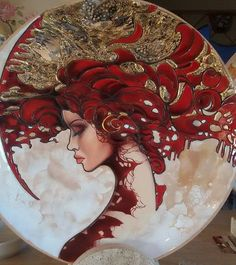 Lady in Red by Valeria Macaluso, Italy - Firebrickart China Painting, Ceramic Painting, Ceramic Art, Plate Art, Glazes For Pottery, Portrait Art, Female Art, Amazing Art, Watercolor Art