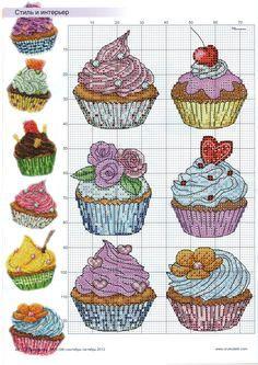 Cupcakes en punto cruz