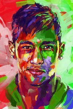 Neymar portrait en peinture à l'huile