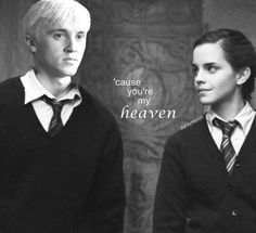 Find images and videos about harry potter, hermione granger and draco malfoy on We Heart It - the app to get lost in what you love. Harry Potter Puns, Harry Potter Ships, Harry Potter Cast, Draco And Hermione, Hermione Granger, Draco Malfoy, Dramione Fan Art, Dramione Fanfiction, Scorpius Rose