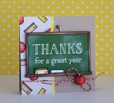 The fun continues today with Lawn Fawn Release Week and we& featuring another new set, yes, finally a school set! Teacher Thank You Cards, Teachers Day Gifts, Teacher Gifts, Teacher Appreciation Cards, Tarjetas Diy, Lawn Fawn Stamps, Thanks Card, Scrapbook, Clear Stamps