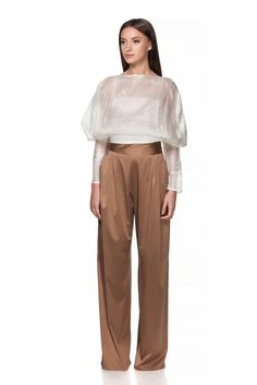 Maria Alina Margulescu – Borangic Bride Blouse + Coktail Golden Brown Trouses Contemporary Fashion, Traditional Design, Harem Pants, Bride, Golden Brown, Blouse, Atelier, Wedding Bride, Harem Trousers