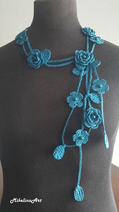 Ready to ship worldwide! Crochet necklace. Length: 220 cm (88 inches). Flower size: 3.5 cm (1.4 inches). Rose size: 4.5 cm (1.8 inches). 100% cotton. Feel free to ask me any questions. Ready to ship in 2-3 business days. The list of items will be growing so stay tuned. Thank You.