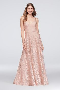 Wide-set straps, a flattering V-neck, and a soft A-line skirt make this embroidered mesh gown a graceful choice for prom.   By Speechless  Polyester  Back zipper; fully lined  Hand wash  Imported &nbs