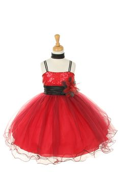 Children's red dress with black straps, sash and scarf is accented with embroidered flowers and simple red bow. Description from jaksflowergirldresses.com. I searched for this on bing.com/images