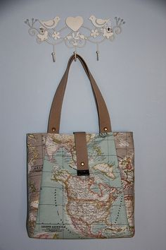Large oilcloth tote bag in world map design by ktmakes on etsy world map print large tote bag blue beige ecofriendly by leyyabags 6000 gumiabroncs Image collections