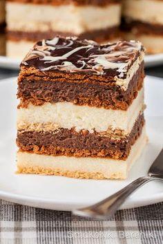 Stefanka z kaszy manny Glaze For Cake, Layered Desserts, Polish Recipes, Sweet Cakes, Cookie Desserts, Dessert Bars, Tray Bakes, Mousse, Cake Recipes