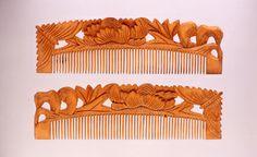 木台牡丹蝶文透彫櫛、19世紀