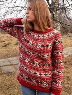 Red Fair Isle sweater