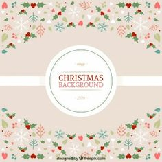 Cute christmas background in floral style