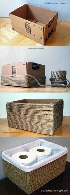 Cardboard Box into Rope Basket -elizabethjoandesi . - DIY Basket with cardboard, ., Cardboard Box into Rope Basket -elizabethjoandesi . - DIY Basket with cardboard, . Diy Storage, Storage Baskets, Bathroom Storage, Storage Ideas, Bathroom Organization, Storage Boxes, Wire Baskets, Bathroom Hacks, Small Bathroom