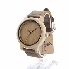 Bobobird A10 Wooden Bamboo Quartz Watch For Women Real Leather Strap Casual Watches With Gift Box