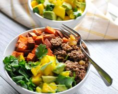 Pineapple Beef Bowls with Mango Avocado Salsa