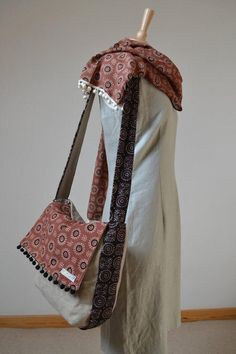 Messenger bag with handprinted fabric  Ajrak Pink and by margoshka, $38.00