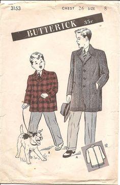 1940s Boys Sport Coat Blazer Vintage Sewing by ErikawithaK
