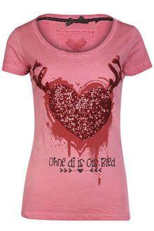 ERSATZTRACHT Damen T-Shirt Mei Dirndl...HERZ pink Tracht Bluse Wiesn Fest