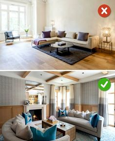 15 Living Room Design Mistakes - Your sofa is against the wall. Living Room Furniture Arrangement, Living Room Furniture Layout, Interior Design Living Room, Living Room Designs, Rearranging Furniture, Sala Grande, Creation Deco, Small Living Rooms, Room Decor