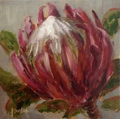 """Patriotic Protea daily painting by Heidi Shedlock Protea Art, Protea Flower, Tulip Painting, Fruit Painting, Abstract Canvas Art, Diy Canvas Art, Floral Drawing, Art Tutorials, Lovers Art"