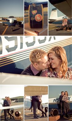 Travel themed engagement shot - airplane
