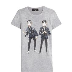 Dsquared2 Printed Cotton T-Shirt (€170) ❤ liked on Polyvore featuring tops, t-shirts, grey, print tees, relax t shirt, grey tee, dsquared2 t shirt and multi color t shirts