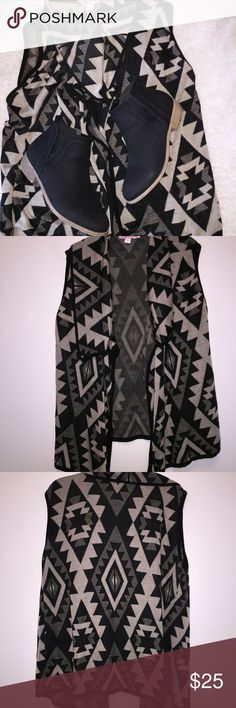 Sleeveless Aztec open cardigan Open sleeveless cardigan is comfy and great with leggings or your favorite jeans and booties or thigh high boots. Sweaters