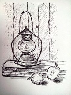 Lamp and apples #LampDrawing