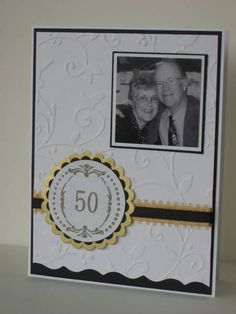 "My parents are celebrating 50 years of wedded bliss, and I got to make 70 invitations for the open house. I can't remember who I CASE'd on this, but I sure would like to say ""THANKS!!!"". My mom loved the result."