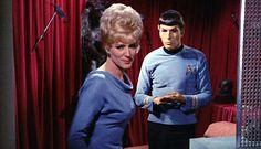Majel Barrett-Roddenberry as Nurse Chapel in an episode of the original Star Trek TV series. Star Trek Tv Series, Film Star Trek, Star Trek 1, Star Trek Spock, Star Trek Original Series, Star Trek Ships, Star Trek Into Darkness, Star Citizen, Vaisseau Star Trek