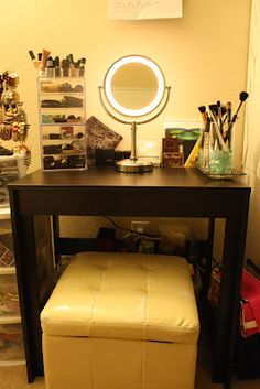 Turn your old computer desk into a makeup vanity. So easy! I love it