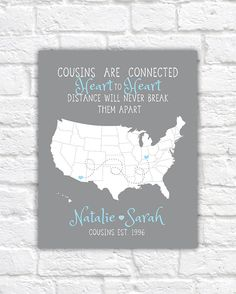 Personalized Map For 3 Best Friends Long Distance Friendship Quotes